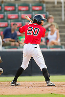 Jacob May (20) of the Kannapolis Intimidators at bat against the Greensboro Grasshoppers at CMC-Northeast Stadium on July 13, 2013 in Kannapolis, North Carolina.  The Intimidators defeated the Grasshoppers 7-5.   (Brian Westerholt/Four Seam Images)