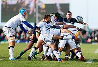 17th November 2019; The Sportsground, Galway, Connacht, Ireland; European Rugby Champions Cup, Connacht versus Montpellier; Benoit Paillaugue kicks clear for Montpellier - Editorial Use