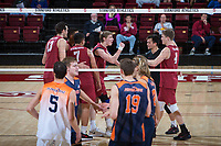 STANFORD, CA - March 3, 2018: Leo Henken, Eric Beatty, Evan Enriques, Mason Tufuga, Kevin Rakestraw at Maples Pavilion. The Stanford Cardinal lost to Pepperdine, 3-0.