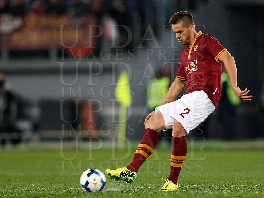 Calcio, Serie A: Roma vs Torino. Roma, stadio Olimpico, 25 marzo 2014.<br /> AS Roma Rafael Toloi, of Brazil, in action during the Italian Serie A football match between AS Roma and Torino at Rome's Olympic stadium, 25 March 2014.<br /> UPDATE IMAGES PRESS/Riccardo De Luca
