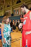 Lady Mayor of Madrid Ana Botella with the player of the Spanish Basketball Team Pau Gasol