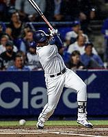 Jose Pirela de los Padres, durante el partido de beisbol de los Dodgers de Los Angeles contra Padres de San Diego, durante el primer juego de la serie las Ligas Mayores del Beisbol en Monterrey, Mexico el 4 de Mayo 2018.<br /> (Photo: Luis Gutierrez)