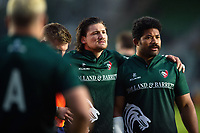 Guy Thompson and Tatafu Polota-Nau of Leicester Tigers look on during the pre-match warm-up. Gallagher Premiership match, between Harlequins and Leicester Tigers on May 3, 2019 at the Twickenham Stoop in London, England. Photo by: Patrick Khachfe / JMP