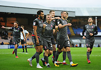 Lincoln City's James Wilson, right, celebrates scoring his side's sixth goal with Matt Green, Harry Anderson and Scott Wharton<br /> <br /> Photographer Andrew Vaughan/CameraSport<br /> <br /> The EFL Sky Bet League Two - Port Vale v Lincoln City - Saturday 13th October 2018 - Vale Park - Burslem<br /> <br /> World Copyright © 2018 CameraSport. All rights reserved. 43 Linden Ave. Countesthorpe. Leicester. England. LE8 5PG - Tel: +44 (0) 116 277 4147 - admin@camerasport.com - www.camerasport.com