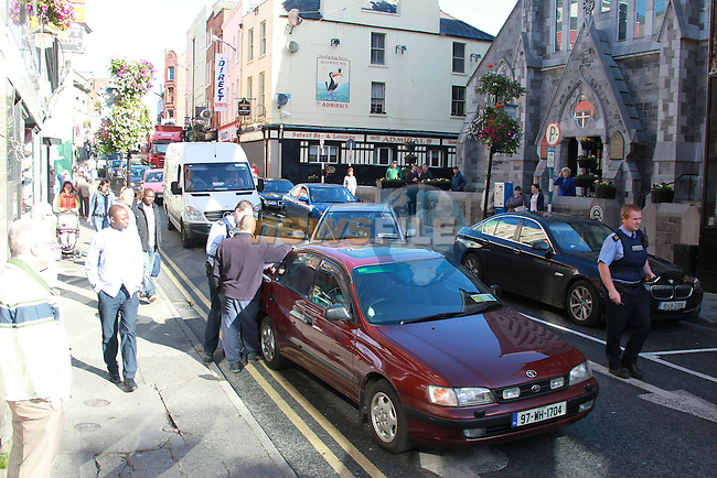 Past and Present.Picture: Fran Caffrey/newsfile.ie.The scene of an etc in Shop Street Drogheda, brought the town to a stand still, as Garda felt with a heated situation with one of the drivers..Picture: Fran Caffrey/newsfile.ie.