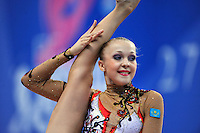 Marina Petrakova of Kazakhstan performs with ribbon at 2010 Pesaro World Cup on August 28, 2010 at Pesaro, Italy.  Photo by Tom Theobald.