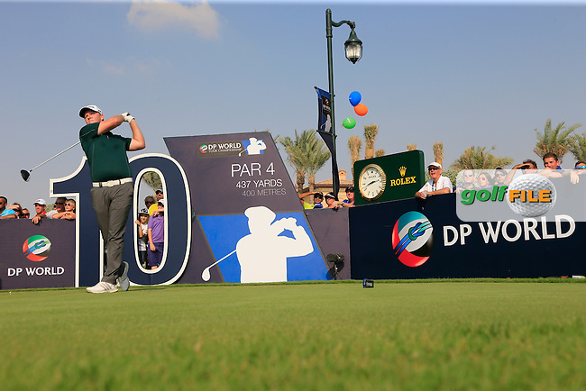 Marcus Fraser (AUS) on the 10th tee during the 2nd round of the season ending DP World Tour Championship, Earth Course, Jumeirah Golf Estates, Dubai, UAE.  20/11/2015.<br /> Picture: Golffile | Fran Caffrey<br /> <br /> <br /> All photo usage must carry mandatory copyright credit (&copy; Golffile | Fran Caffrey)