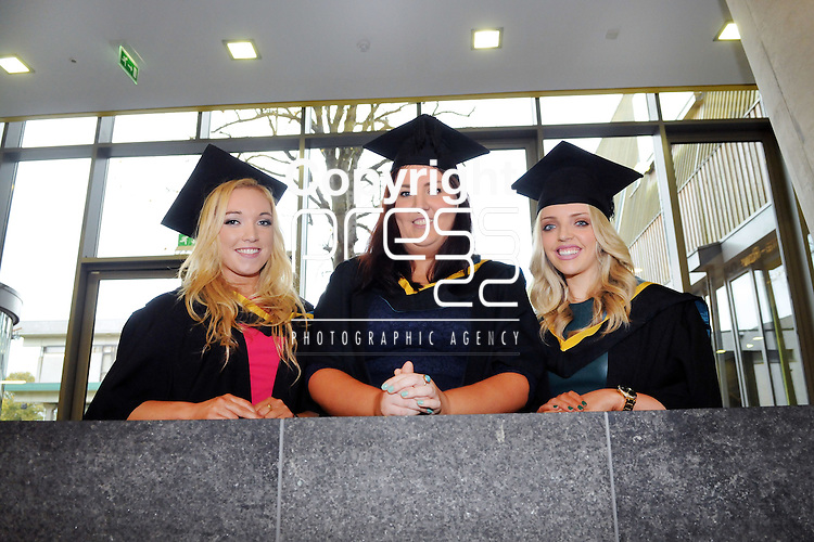 24/10/2014  With Compliments, Attending The Mary Immaculate College Conferrings were Leanne Broderick, Gort, Galway, Kate Bresnihan, Leanlara, Cork and Katie Berkery, Castletroy, Limerick, who were all conferred with a Bachelor of Education (B.Ed)<br /> Pic: Gareth Williams / Press 22