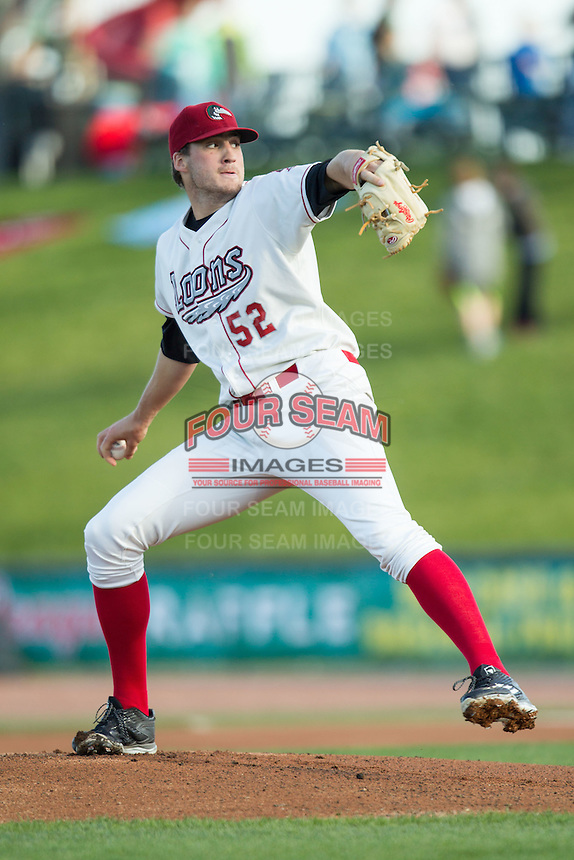 Great Lakes Loons pitcher Nolan Long (52) delivers a pitch to the plate against the South Bend Cubs on May 18, 2016 at Dow Diamond in Midland, Michigan. Great Lakes defeated South Bend 5-4. (Andrew Woolley/Four Seam Images)