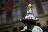 NEW YORK, NY - APRIL 16: People take part during the Annual Easter parade on April 16, 2017 in New York City.  The Easter Parade and Easter Bonnet Festival is characterized by revelers dressed in their holiday finery, which typically includes handmade hats, while they gather around St. Patrick's Cathedral to show their creations. Photo by VIEWpress/Eduardo MunozAlvarez