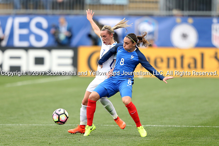 CHESTER, PA - MARCH 01: Jordan Nobbs (ENG) (7) and Jessica Houara (FRA) (8). The England Women's National Team played the France Women's National Team as part of the She Believes Cup on March, 1, 2017, at Talen Engery Stadium in Chester, PA. The France won the game 2-1.