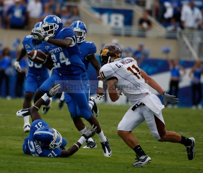 Randall Burden, of the University of Kentucky football team, ran the ball against Central Michigan University, in Commonwealth Stadium, on Saturday, September 10, 2011. Photo by Latara Appleby | Staff ..