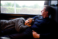 Leader of the Conservative Party David Cameron with his wife Samantha on the Campaign coach on their way to Blackpool, Sunday May 2, 2010. Photo By Andrew Parsons .