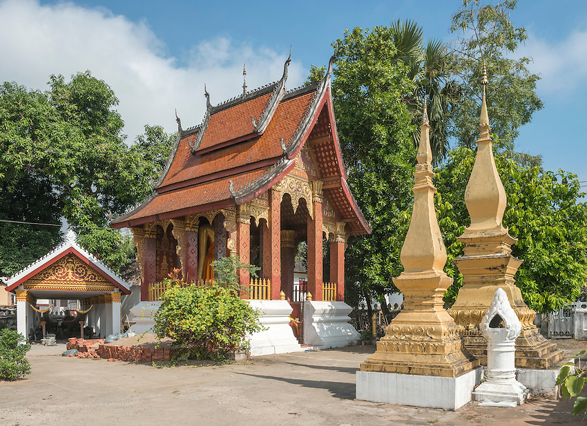 Auxiliary buildings at Wat Sensoukharam, a Buddhist temple and monastery located on the main street in Luang Prabang, Laos