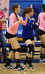 Marymount's Erin Williams and Cassidie Watson get ready for a college volleyball match against Shenandoah at Marymount University in Arlington, Vir., on Tuesday, Oct. 8, 2013.<br /> Photo by Cathleen Allison