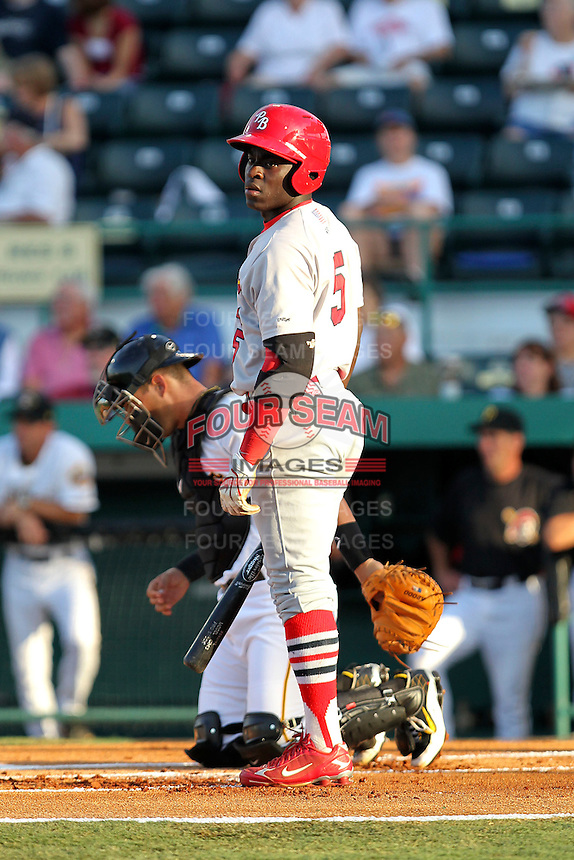 April 29, 2010 Infielder Jermaine Curtis of the Palm Beach Cardinals, Florida State League Class-A affiliate of the St.Louis Cardinals, during a game at McKenhnie Field in Bradenton Fl. Photo by: Mark LoMoglio/Four Seam Images
