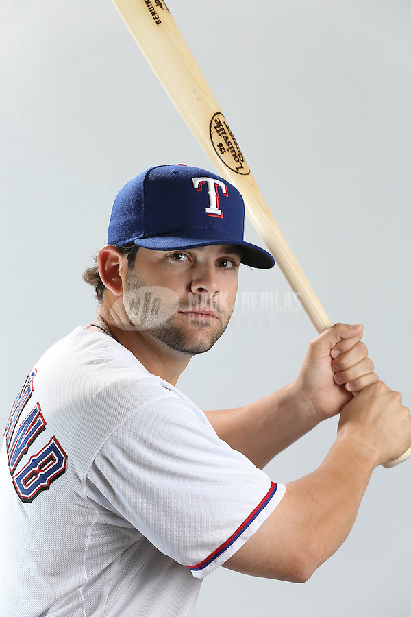 Feb. 20, 2013; Surprise, AZ, USA: Texas Rangers first baseman Mitch Moreland poses for a portrait during photo day at Surprise Stadium. Mandatory Credit: Mark J. Rebilas-