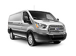 Silver 2016 Ford Transit 250 Low Roof RWB Van commercial vehicle isolated on white background with clipping path Image © MaximImages, License at https://www.maximimages.com