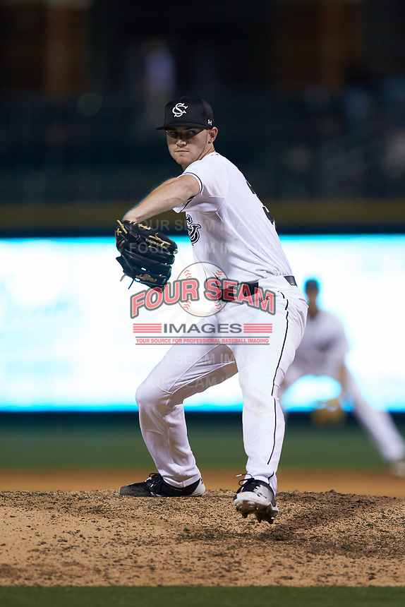 South Carolina Gamecocks relief pitcher T.J. Shook (36) in action against the North Carolina Tar Heels at BB&T BallPark on April 3, 2018 in Charlotte, North Carolina. The Tar Heels defeated the Gamecocks 11-3. (Brian Westerholt/Four Seam Images)