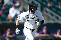 Michael Ludowig (22) of the Wake Forest Demon Deacons hustles down the first base line against the Furman Paladins at BB&T BallPark on March 2, 2019 in Charlotte, North Carolina. The Demon Deacons defeated the Paladins 13-7. (Brian Westerholt/Four Seam Images)