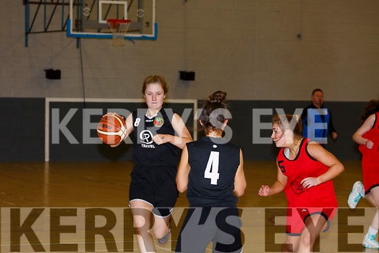 Avi Ni Chathasaigh of the Gaelcholaiste Chairrai U16 basketball team in action at the All Ireland B semi finals in the Sports Complex last Friday morning.