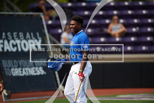 during the Under Armour All-American Game practice presented by Baseball Factory on July 28, 2017 at Rocky Miller Park in Evanston, Illinois.  (Mike Janes/Four Seam Images)