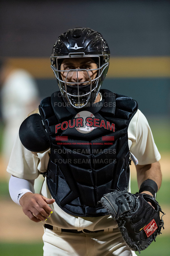Visalia Rawhide catcher Renae Martinez (9) during a California League game against the Rancho Cucamonga Quakes on April 9, 2019 in Visalia, California. Visalia defeated Rancho Cucamonga 8-5. (Zachary Lucy/Four Seam Images)