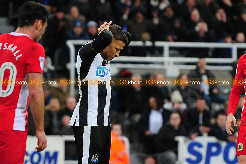 A frustrated Dwight Gayle of Newcastle United during Newcastle United vs Blackburn Rovers, Sky Bet EFL Championship Football at St. James' Park on 26th November 2016