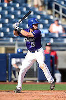 Tulsa Drillers second baseman Taylor Featherston (12) at bat during the first game of a doubleheader against the Frisco Rough Riders on May 29, 2014 at ONEOK Field in Tulsa, Oklahoma.  Frisco defeated Tulsa 13-4.  (Mike Janes/Four Seam Images)