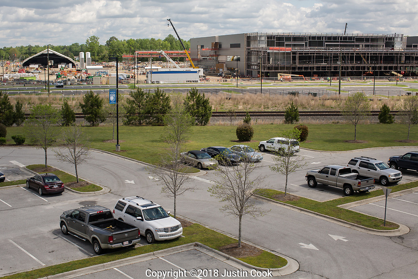 Construction of the Novo Nordisk production plant in Clayton, NC Friday, April 27, 2018. (Justin Cook for STAT News)