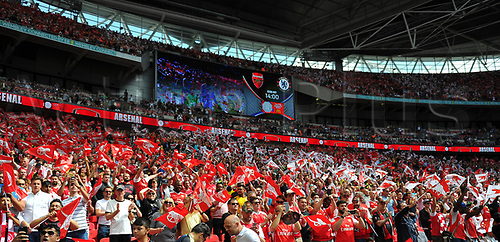 August 6th 2017, Wembley Stadium, London, England; FA Community Shield Final; Arsenal versus Chelsea; Arsenal fans before kick off