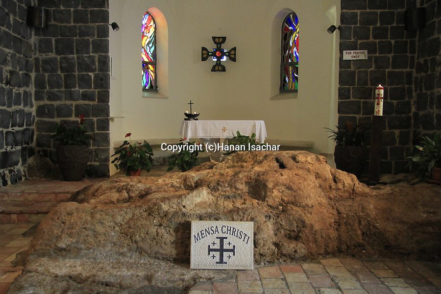 The Mensa Christi rock at the Franciscan Church of St Peter's Primacy in Tabgha by the Sea of Galilee