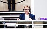 Stockholm 2015-03-01 Fotboll Svenska Cupen Hammarby IF - Landskrona BoIS :  <br /> SVT kommentator Staffan Lindeborg p&aring; pressl&auml;ktaren under matchen mellan Hammarby IF och Landskrona BoIS <br /> (Foto: Kenta J&ouml;nsson) Nyckelord:  Fotboll Svenska Cupen Cup Tele2 Arena Hammarby HIF Bajen Landskrona BOIS portr&auml;tt portrait