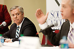 "March 26, 2013. Columbia, South Carolina. Sen. Lindsey Graham sat on discussion panel at a South Carolina Chamber of Commerce event billed as ""Washington Night in South Carolina"".  US Representatives Jim Clyburn, Trey Gowdy, gesturing, Mick Mulvaney, and Tom Rice were also on the panel.. Sen. Lindsey Graham, R- South Carolina, is up for reelection in 2014. He spent some time talking to his base back home about issues such as immigration reform as he readies himself for his campaign run.."