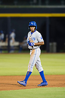 AZL Royals second baseman Tyler James (14) walks to second base against the AZL Mariners on July 29, 2017 at Peoria Stadium in Peoria, Arizona. AZL Royals defeated the AZL Mariners 11-4. (Zachary Lucy/Four Seam Images)