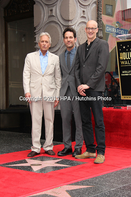 vLOS ANGELES - JUL 1:  Michael Douglas, Paul Rudd, Peyton Reed at the Paul Rudd Hollywood Walk of Fame Star Ceremony at the El Capitan Theater Sidewalk on July 1, 2015 in Los Angeles, CA