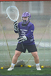 Jill Rall (29) of the High Point Panthers warms up prior to the game against the Furman Purple Paladins at Vert Track, Soccer & Lacrosse Stadium on February 10, 2018 in High Point, North Carolina.  The Panthers defeated the Purple Paladins 17-6.  (Brian Westerholt/Sports On Film)