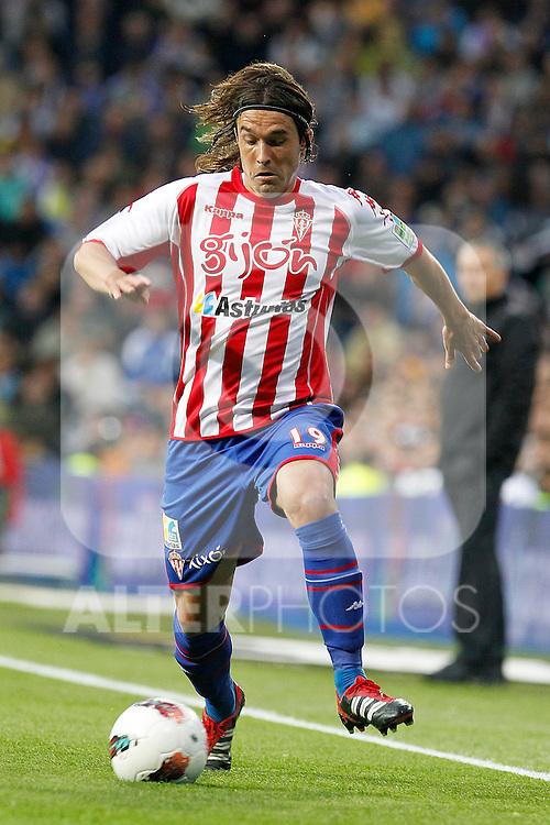 Sporting de Gijon's Gaston Maximiliano Sangoy during La Liga match.April 14,2012. (ALTERPHOTOS/Acero)