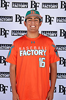 Emilio Flores (16) of Burlingame High School in Millbrae, California during the Baseball Factory All-America Pre-Season Tournament, powered by Under Armour, on January 12, 2018 at Sloan Park Complex in Mesa, Arizona.  (Mike Janes/Four Seam Images)