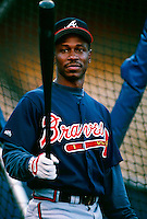 Kenny Lofton of the Atlanta Braves during a game at Dodger Stadium in Los Angeles, California during the 1997 season.(Larry Goren/Four Seam Images)