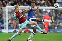 Dominic Calvert-Lewin of Everton is tackled by Ben Mee of Burnley during the Premier League match between Everton and Burnley at Goodison Park on October 1st 2017 in Liverpool, England. <br /> Calcio Everton - Burnley Premier League <br /> Foto Phcimages/Panoramic/insidefoto