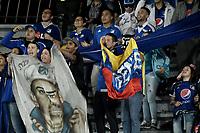 BOGOTA - COLOMBIA, 10-04-2018: Hinchas de Millonarios animan a su equipo durante el encuentro entre Millonarios y Deportivo Pasto por la fecha 14 de la Liga Águila I 2018 jugado en el estadio Nemesio Camacho El Campin de la ciudad de Bogotá. / Fans of Millonarios cheer for their team during the match between Millonarios and Deportivo Pasto for the date 14 of the Liga Aguila I 2018 played at the Nemesio Camacho El Campin Stadium in Bogota city. Photo: VizzorImage / Gabriel Aponte / Staff.