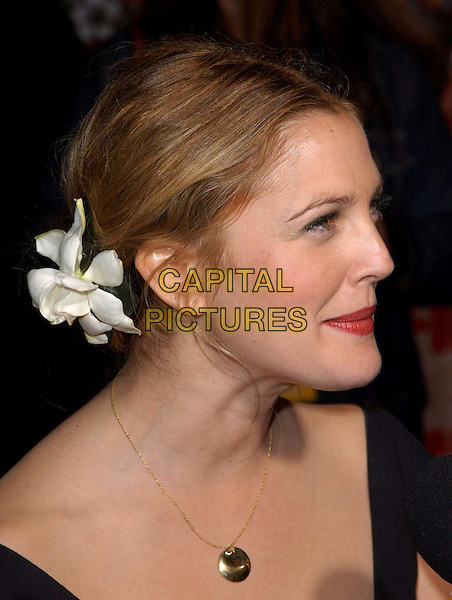 DREW BARRYMORE.Los Angeles Premiere of 50 First Dates held at The Mann Village Theatre in Westwood, California.3 February 2004  .*UK Sales Only*.portrait, headshot, flower in hair, funny face, necklace.www.capitalpictures.com.sales@capitalpictures.com.©Capital Pictures.