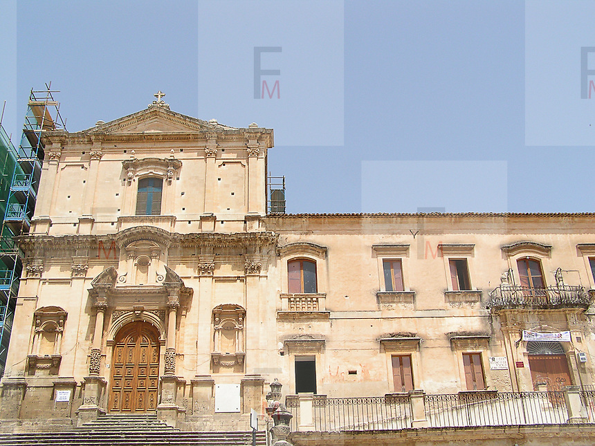 Noto il famoso paese tutelato dall'Unesco per l'architettura barocca..Chiesa dell'Immacolata..Noto, the famous village protected from Unesco for his baroque architecture..Church of Immaculate