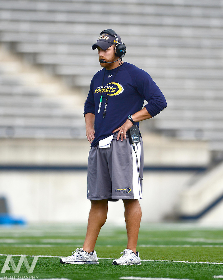 Aug 15, 2012; Toledo, OH, USA; Toledo Rockets lineman coach Tom Manning during practice at the Glass Bowl. Mandatory Credit: Andrew Weber-US Presswire