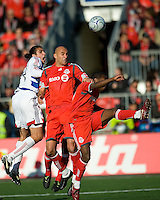 11 April 2009:  FC Dallas defender George John #14 battles with Toronto FC forward Danny Dichio #9 and midfielder Rohan Ricketts #10 during an MLS game at BMO Field in Toronto between FC Dallas and Toronto FC. The game ended in a 1-1 draw.