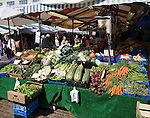 Vegetables on display market place in the city centre of Cambridge, England