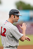 Joe Benson (12) manager of the Ft. Myers Miracle during a game vs. the Brevard County Manatees May 29 2010 at Space Coast Stadium in Viera, Florida. Ft. Myers won the game against Jupiter by the score of 3-2. Photo By Scott Jontes/Four Seam Images