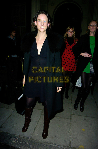 MARIA GRACHVOGEL.The BFC Fashion Forward Party, Home House, London, UK..January 30th, 2007.full length black coat fur collar brown bag purse boots platform wedge goody bag .CAP/CAN.©Can Nguyen/Capital Pictures