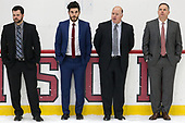Brian Robinson (Harvard - Volunteer Assistant), Rob Rassey (Harvard - Assistant Coach), Ted Donato (Harvard - Head Coach), Paul Pearl (Harvard - Associate Head Coach) - The Harvard University Crimson tied the visiting Yale University Bulldogs 1-1 on Saturday, January 21, 2017, at the Bright-Landry Hockey Center in Boston, Massachusetts.